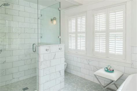 large marble subway tiles transitional bathroom jas design build