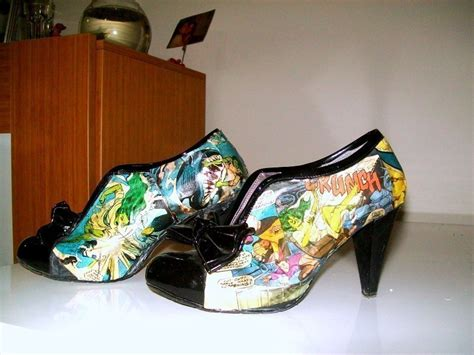 Decoupage Boots - comic shoes 183 a pair of decoupage shoes 183 and