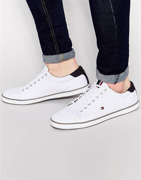 hilfiger white sneakers hilfiger harlow lace up plimsolls white in white