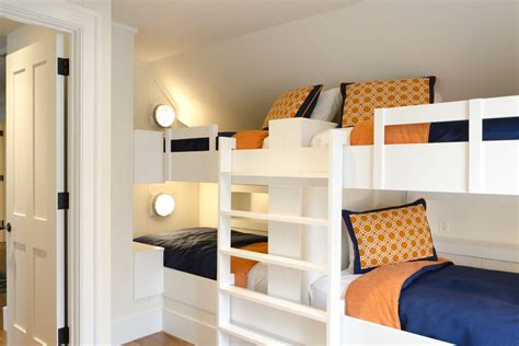 sparkling blue bunk beds  built  bench stairs