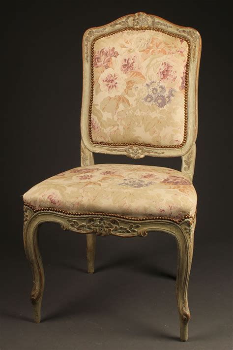 antique pair  french louis xv style side chairs