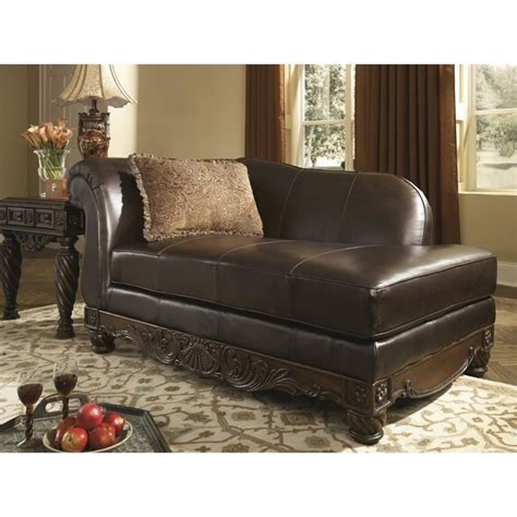 brown lounge ashley north shore leather right dark brown chaise lounge