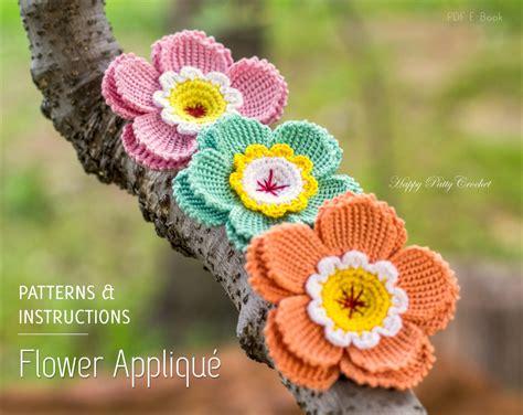 crochet pattern flower applique crochet flower pattern crochet flower applique hat