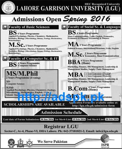 Mba Colleges Last Date Application 2016 by Lahore Garrison Lgu Admissions Open 2016