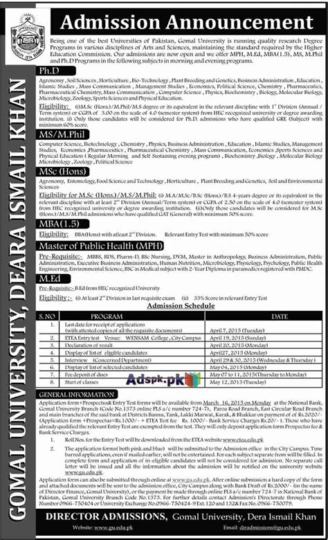 Mba Vs M Ed by Admissions Open 2015 In Gomal Dera Ismail Khan
