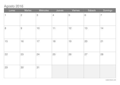 mes de agosto 2016 calendario agosto 2016 para imprimir icalendario net