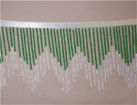 beaded fringe for curtains emerald green and crystal small seed bead beaded fringe