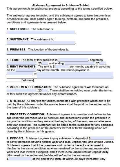 Free Alabama Sublease Agreement Pdf Template Alabama Lease Agreement Template