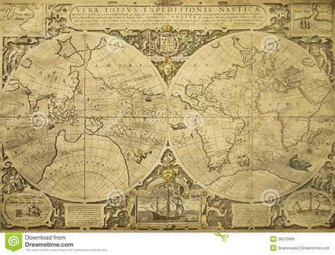 Nautical Chart Wallpaper by Vintage World Map Royalty Free Stock Image Image 26273906