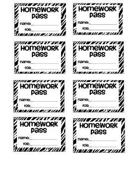 printable free homework pass zebra homework pass by saddle up for 2nd grade tpt