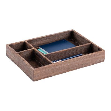 4 Compartment Feathergrain Wooden Organizer Tray The Wooden Desk Drawer Organizer