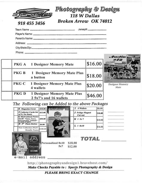 youth sports photography templates youth sports photography order form sports photography