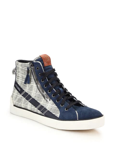 diesel sneakers lyst diesel d string leather suede high top sneakers