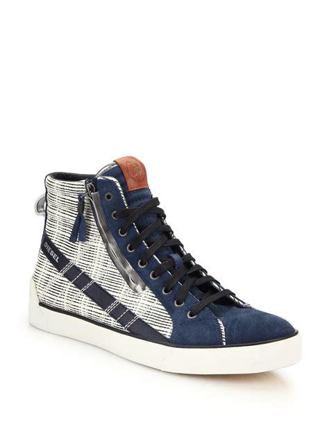 diesel high top shoes diesel d string leather suede high top sneakers in blue