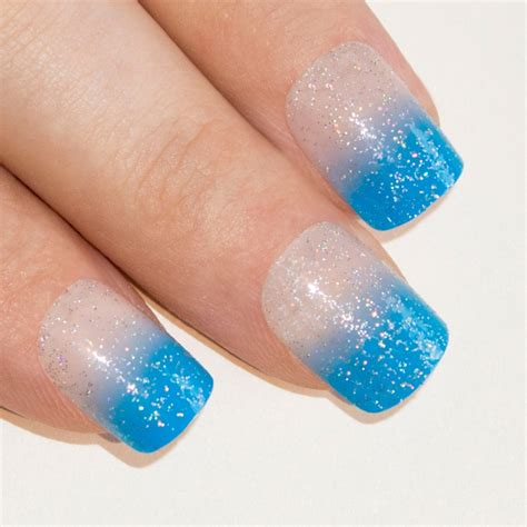 nail by false nails by bling blue sparkle manicure