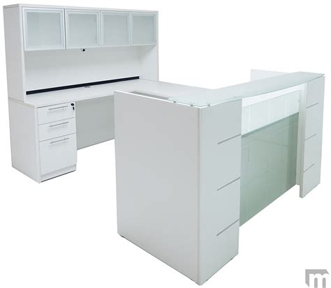 Reception Desk Hutch U Shaped Glass Front Reception Desk W Hutch