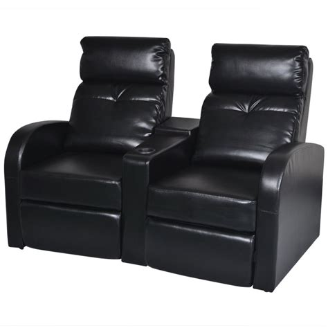 Black Recliner Sofa by Artificial Leather Home Cinema Recliner Reclining Sofa 2