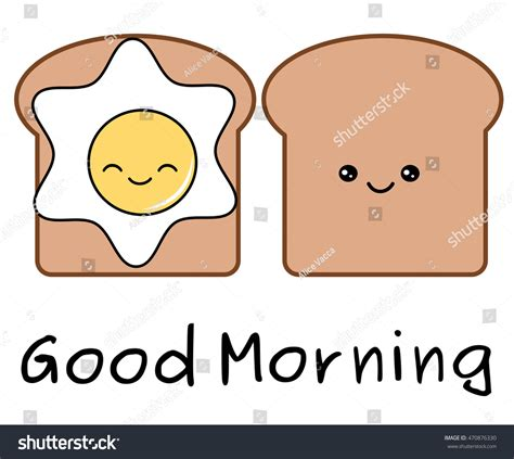 good morning quote cartoon egg bread stock vector  shutterstock