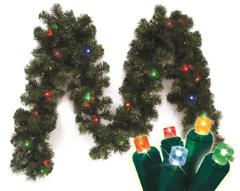 sears outdoor lighted christmas garland battery operated 9 canadian pine branch garland 20 ct led micro mini lights multi seasonal