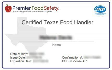 food handlers card template el paso tx food handler certificate program