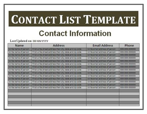 good business contact list template word for information