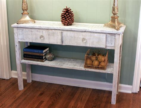 Distressed Entryway Table Whitewashed Sofa Table White Hallway Table Whitewash Entry