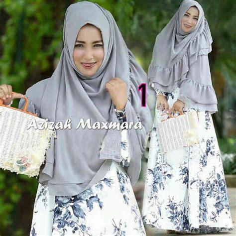 Baju Muslim Dress Gamis Khimar Syari Azizah Syarii baju muslim azizah maxmara a055 gamis syari jersey terbaru