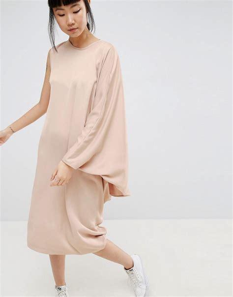 drape side dress asos drape side midi dress in brown lyst