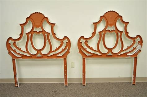Style Single Headboards by Pair Of Vintage Shell Form Cast Aluminum Rococo