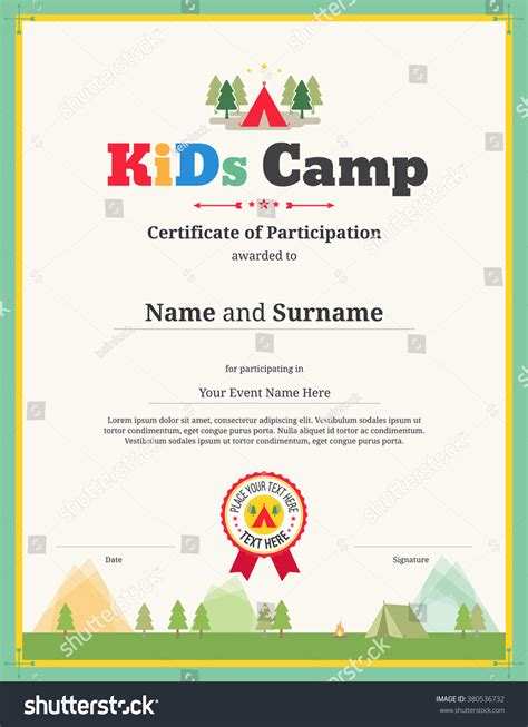 Colorful Kids Certificate Template Portrait Children Stock Vector 380536732 Shutterstock Children S Product Certificate Template