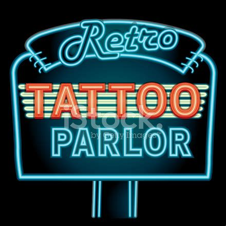 old school neon tattoo sign retro tattoo parlor neon sign stock photos freeimages com