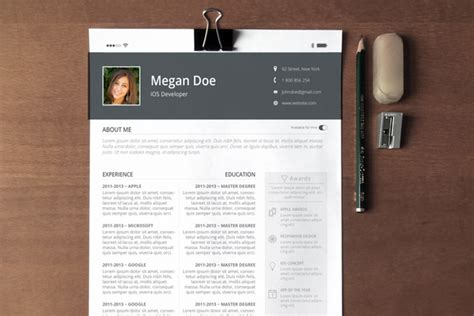 Resume Templates For Pages Ios Ios Feel Resume Cover Letter Resume Templates On Creative Market