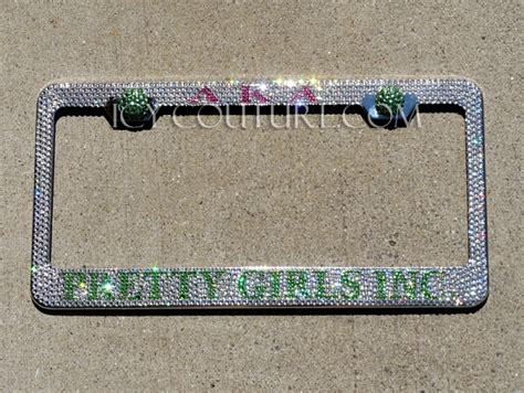 aka license plate frame aka or other custom sorority swarovski crystals license