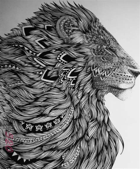 狮子头纹身手稿 黑灰纹身素描狮子头纹身手稿