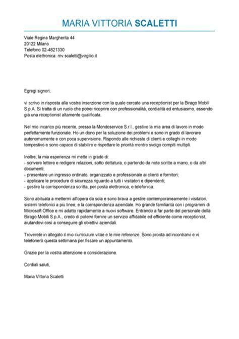 lettere curriculum esempio lettera di presentazione receptionist modello
