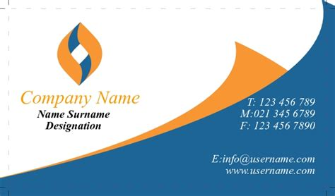 free orang and blue bussiness card templates business card single side