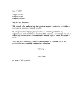 Letter Of Incapacitation