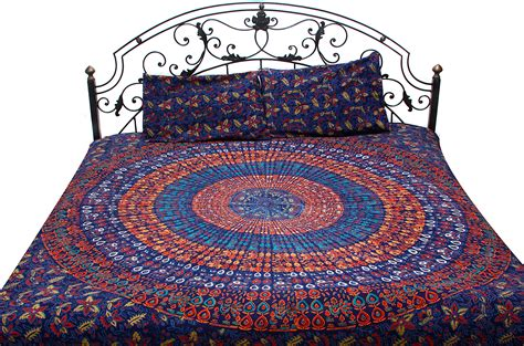 Navy Bedspread Navy Blue Bedspread From Pilkhuwa With Large Printed Mandala