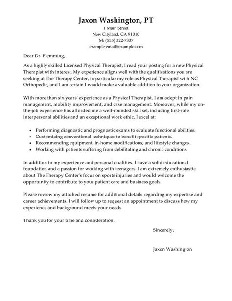 cover letter exercise science best physical therapist cover letter exles livecareer