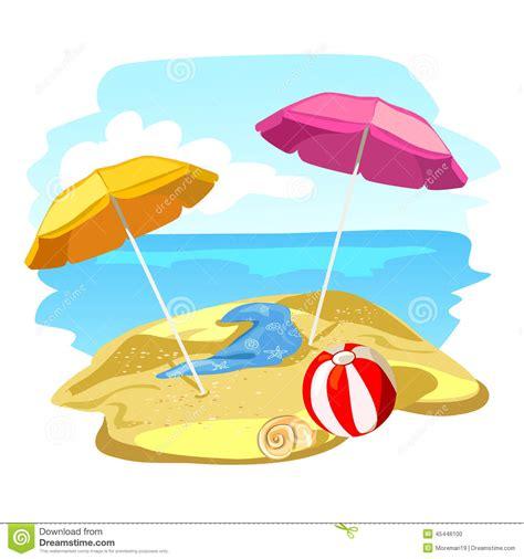 clipart mare spiaggia ed ombrelloni illustrazione vettoriale
