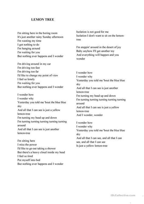 tree lyrics 27 free esl lemon tree worksheets