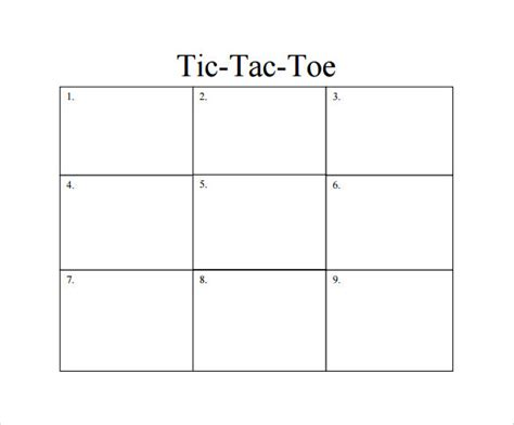 of board template tic tac toe sle 19 exle format