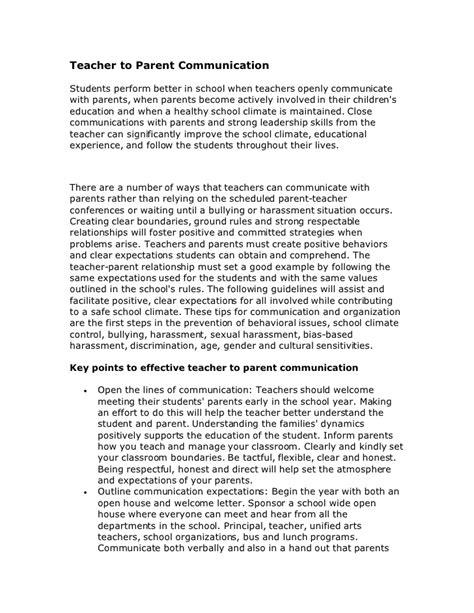 Parent Letter Communication To Parent Communication