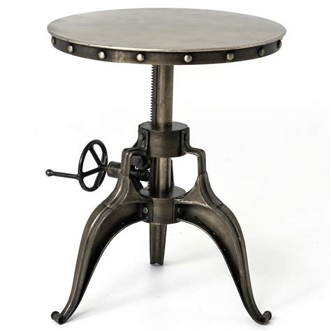 Industrial Side Table Fronzoni Industrial Loft Antique Nickel Crank Side Table Kathy Kuo Home
