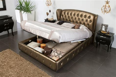 King Bed With Headboard Storage by Bronze Leather Bed With Lift Up Storage And Tufted