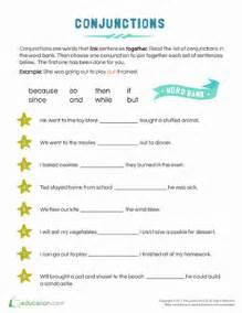 conjunction examples for kids worksheet education com