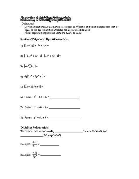 Factoring Worksheet Answers by Dividing Polynomials Worksheet Lesupercoin Printables