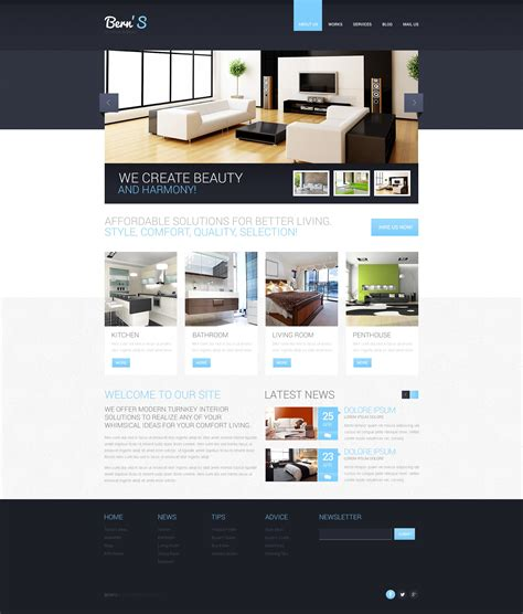 Interior Design Responsive Website Template 44659 Interior Design Website Templates