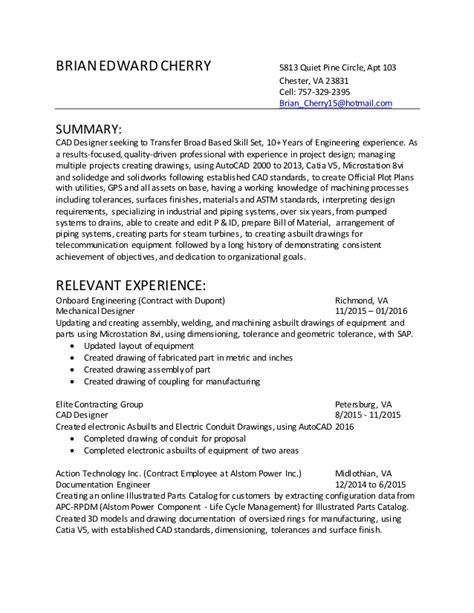 resume sle for autocad designer cad designer resume