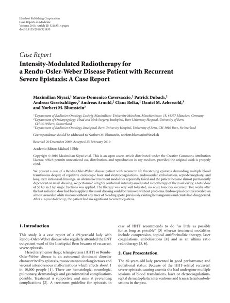Rendu Osler Weber Report And Literature Review by Intensity Modulated Radiotherapy For A Rendu Osler Weber Disease Patient With Recurrent Severe